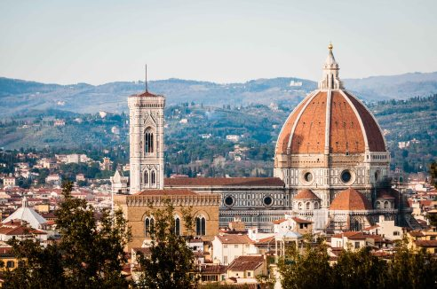 The Basilica di Santa Maria del Fiore as seen from the Boboli Gardens, Florence, Italy.